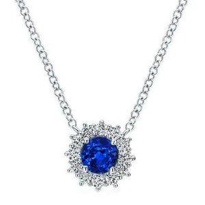 2.2 Ct Sri Lanka Sapphire Round Diamonds Necklace